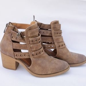 Qupid Faux Leather Wooden Heel Cut-Out Ankle Booti